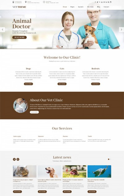 Vet Theme PetDoctor Animal Veterinary Clinic Website Joomla 3 Free Template